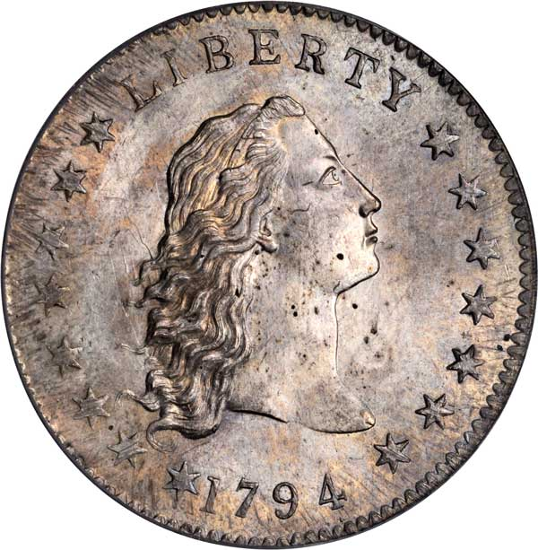 Flowing Hair silver dollar MS64 obverse