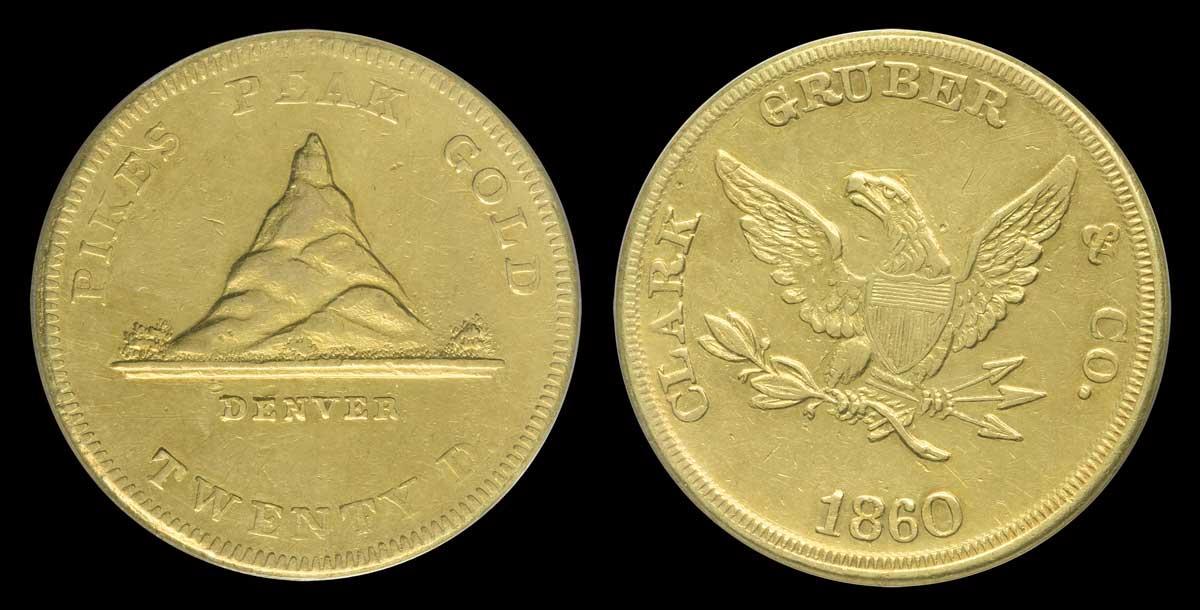 1860's Clark, Gruber & Co. Colorado territorial gold pieces
