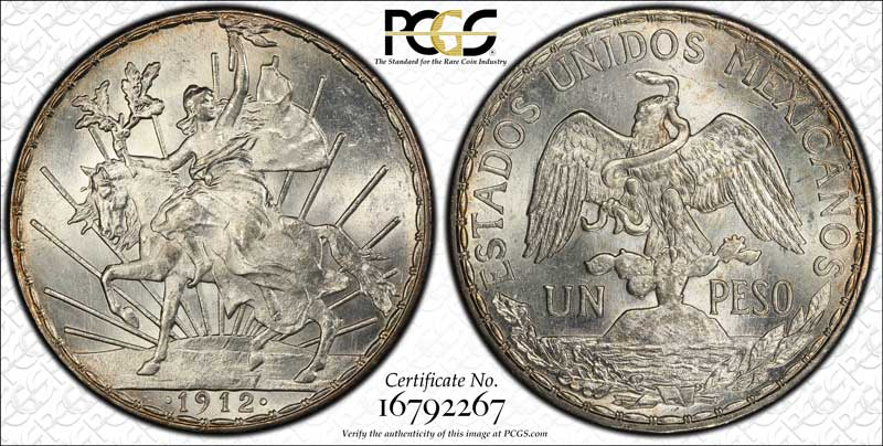 1912 Mexican Peso PCGS MS64