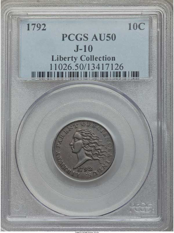 1792 Copper Disme, Judd-10, Pollock-11, High R.6 AU50 PCGS: $180,000