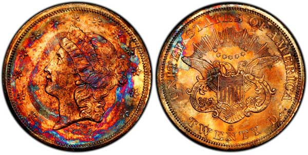 toned 1857-S Double Eagle
