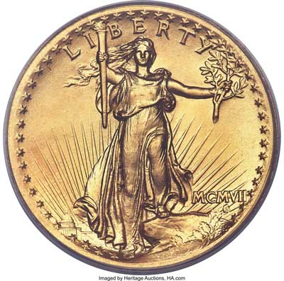 1907 Saint-Gaudens High Relief, Wire Rim Double Eagle obverse