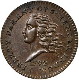 1792 disme in copper (AU-58+) obverse