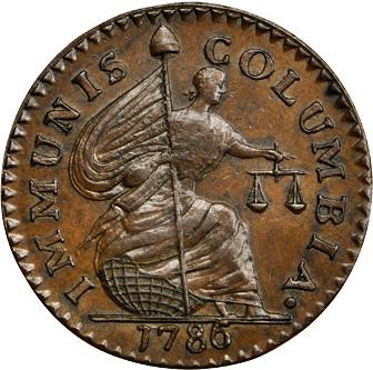 1786 New Jersey Immunis Columbia (MS-63 BN) reverse