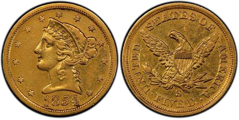 1854 San Francisco Mint Liberty Head Half Eagle