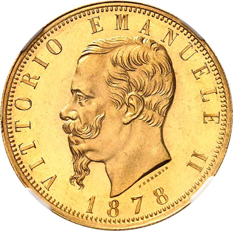 1878 100 Lire PCGS MS64PL obverse