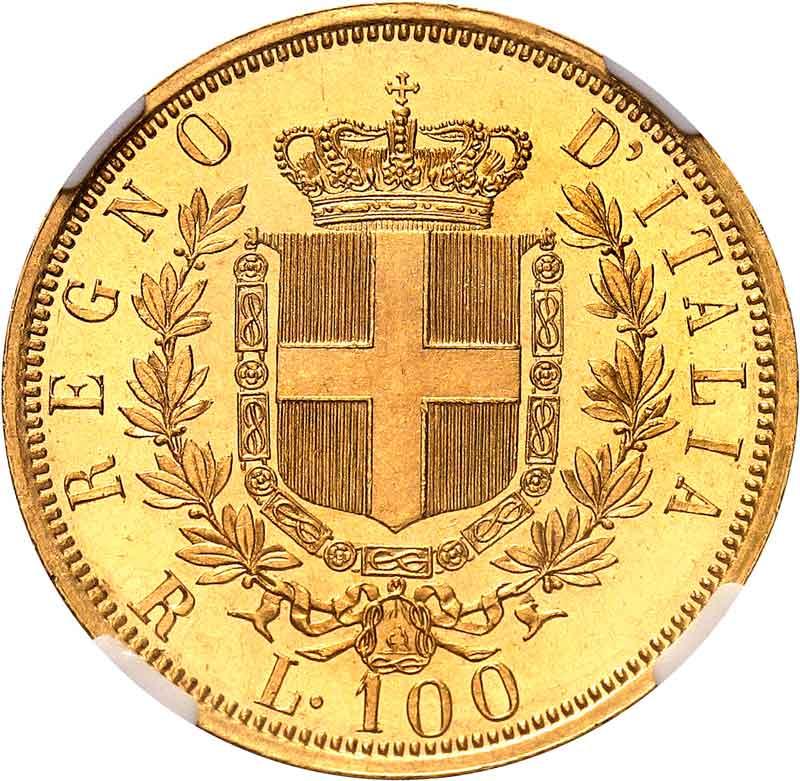 1878 100 Lire PCGS MS64PL reverse