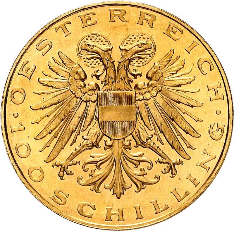 1938 Austria 100 Schilling reverse