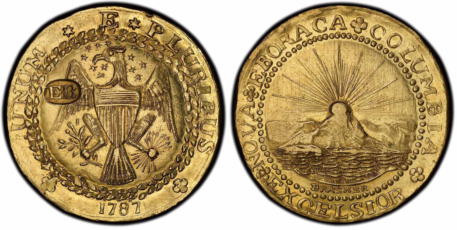 EB on wing 1787 Brasher Doubloon