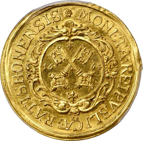 Regensburg. 4 Ducat, 1664-HF. obverse