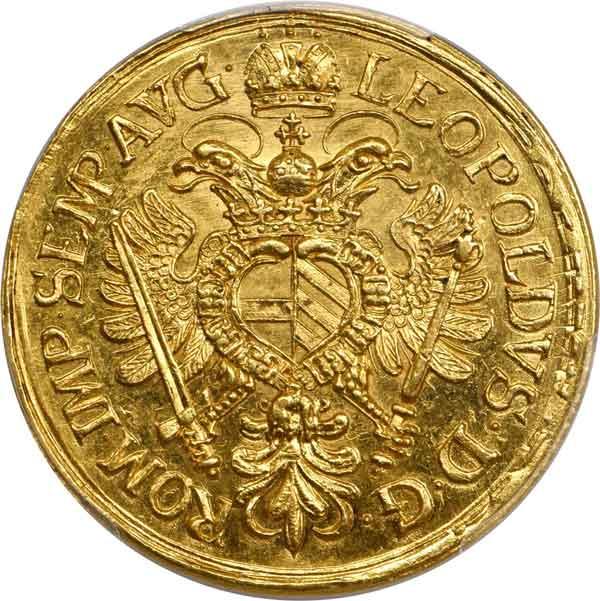 Regensburg. 4 Ducat, 1664-HF. reverse