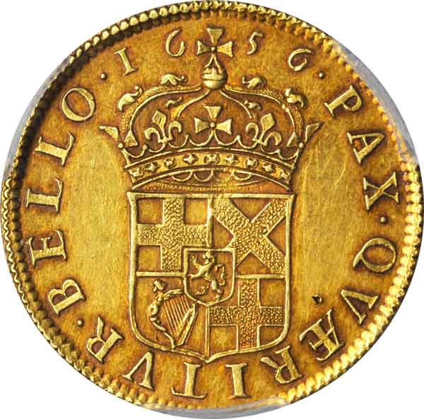 Broad of 20 Shillings, 1656. Oliver Cromwell, Lord Protector (1649-60). reverse