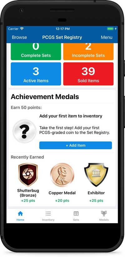PCGS Set Registry mobile app screenshot