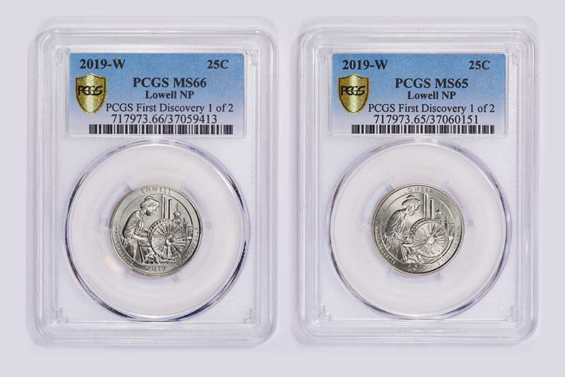 The two Quarter Quest-winning PCGS First Discovery 2019-W Lowell quarter dollars side-by-side.