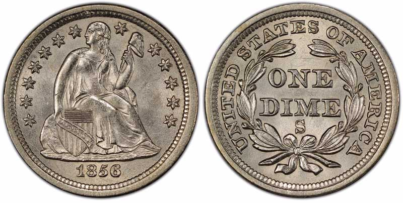 1856 San Francisco Mint Liberty Seated silver dime