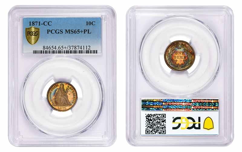 1871-CC PCGS MS65+PL 10c