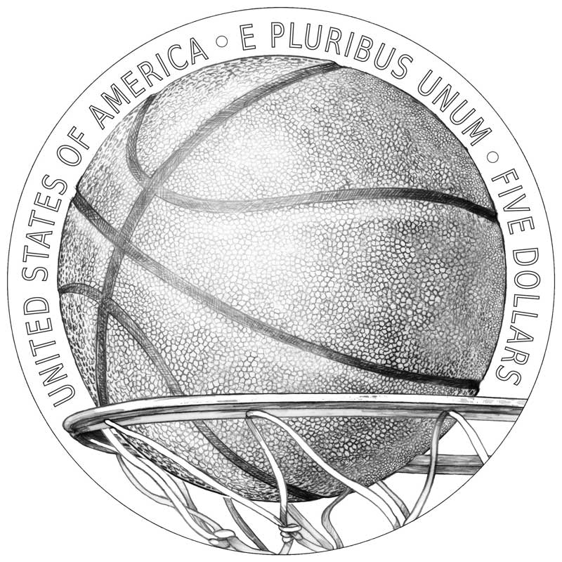 Basketball Hall of Fame $5 coin reverse design