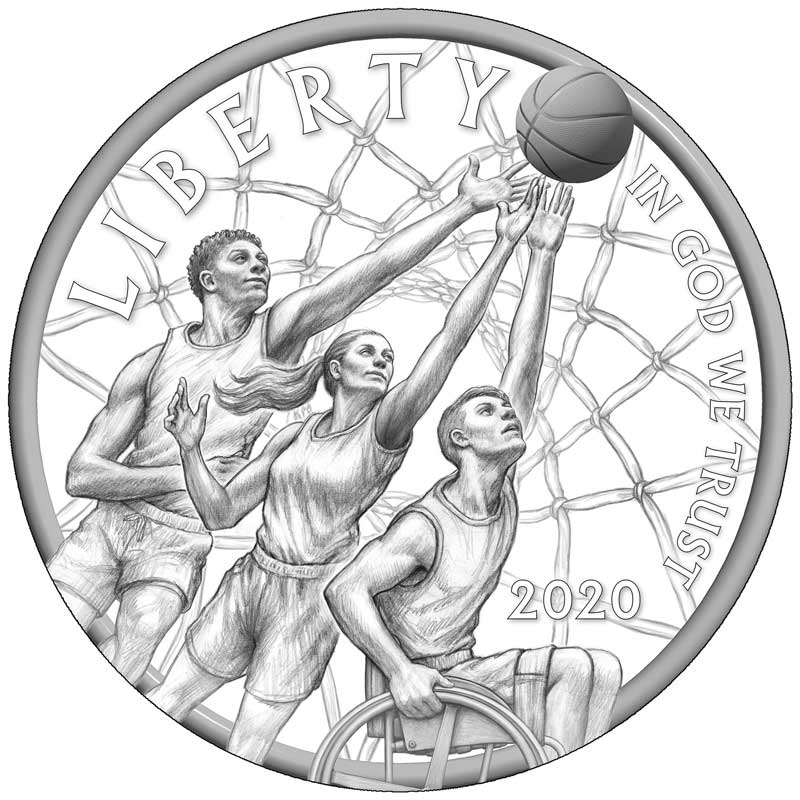 Basketball Hall of Fame coin obverse design