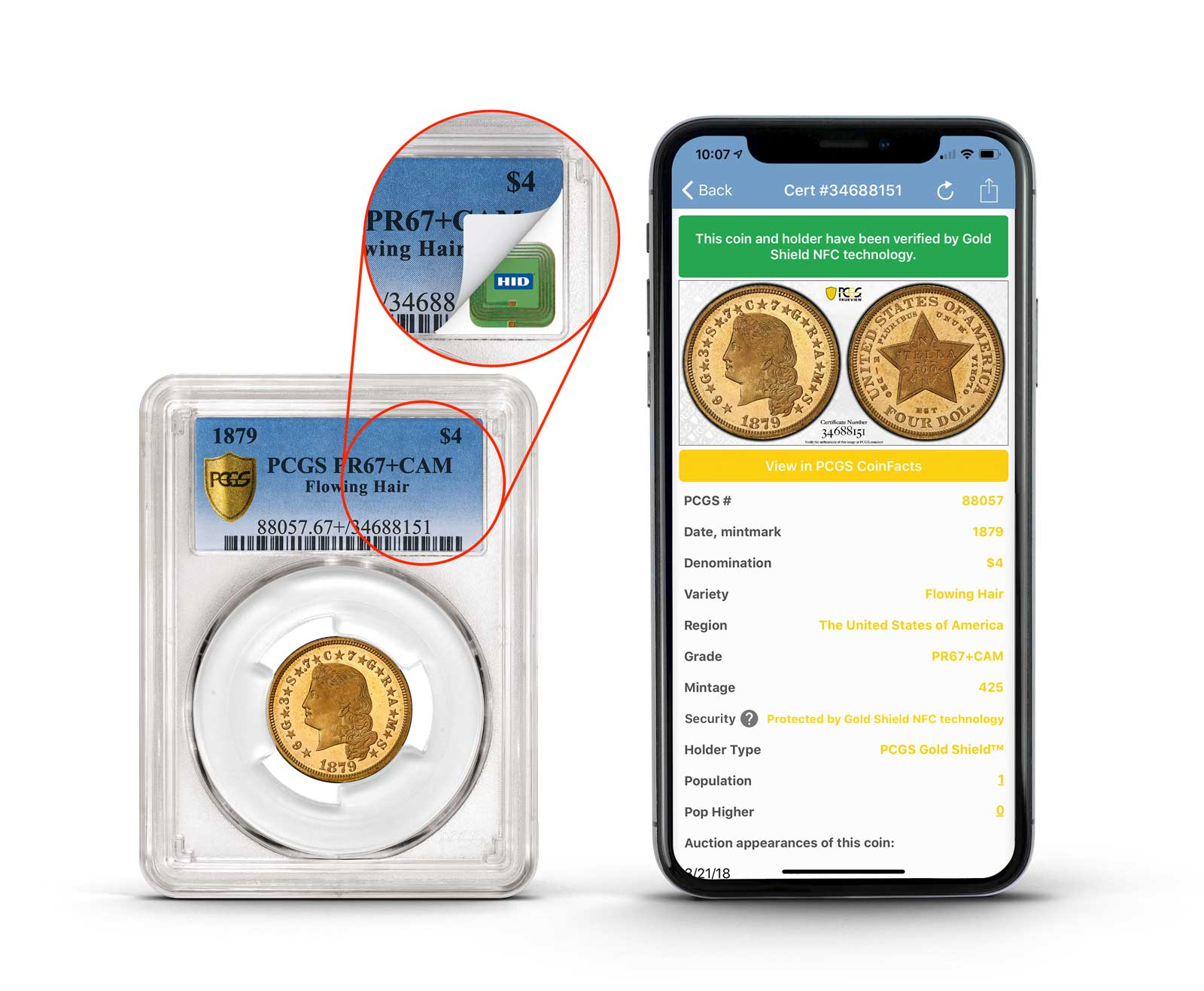 mockup of the new NFC-enabled PCGS slabs