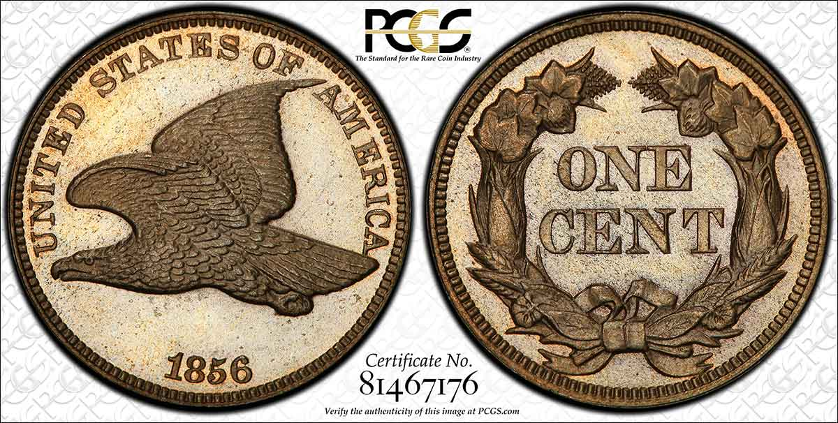 1856 Flying Eagle Cent PCGS MS66.