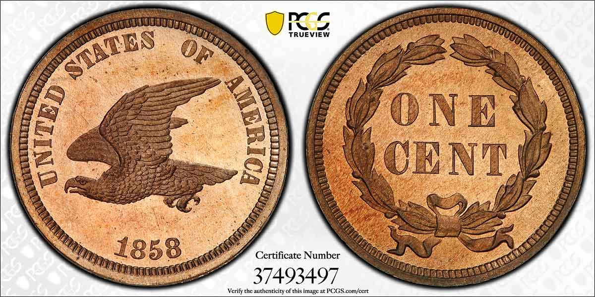 1858 Flying Eagle Cent J-202 Pattern PCGS PR66.