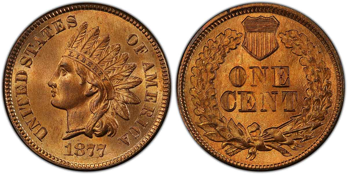 1877 Indian Cent PCGS MS66+RD.