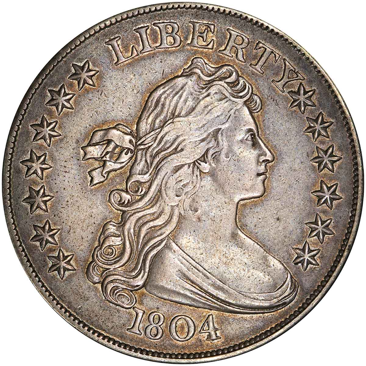 1804 Draped Bust Silver Dollar. Class III Restrike. BB-306. Second Reverse. Proof-55 (PCGS). obverse