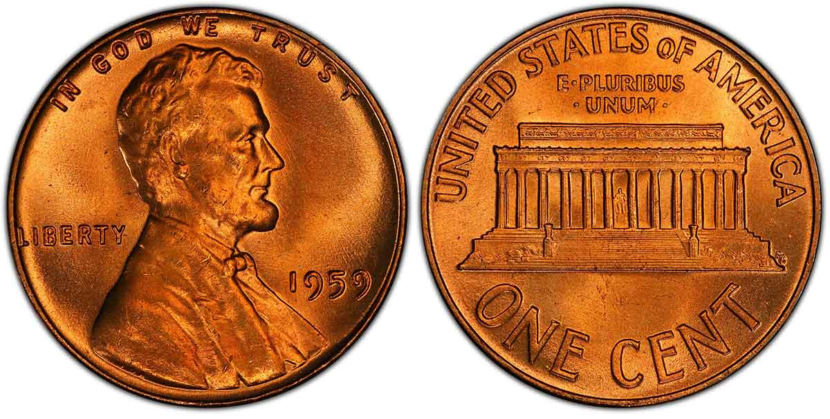 1959 Lincoln Cent PCGS MS67+RD. Image courtesy of PCGS CoinFacts<sup>®</sup>.