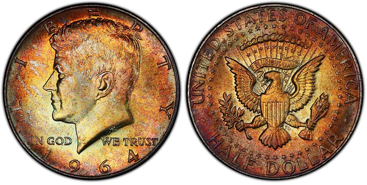 1964 Kennedy Half Dollar PCGS MS67+. Image courtesy of PCGS CoinFacts.
