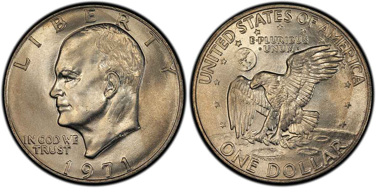 1971 Eisenhower Dollar PCGS MS66+. Image courtesy of PCGS CoinFacts.