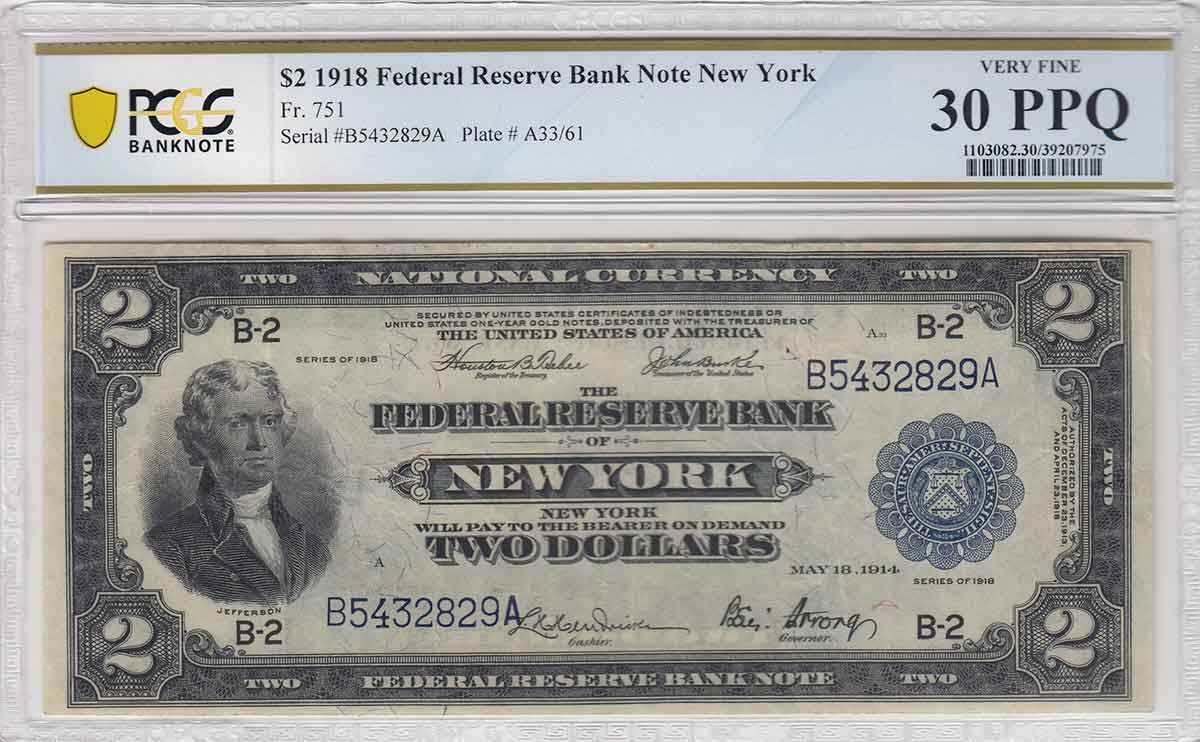 Face of Series of 1918 $2 New York Federal Reserve Bank Note