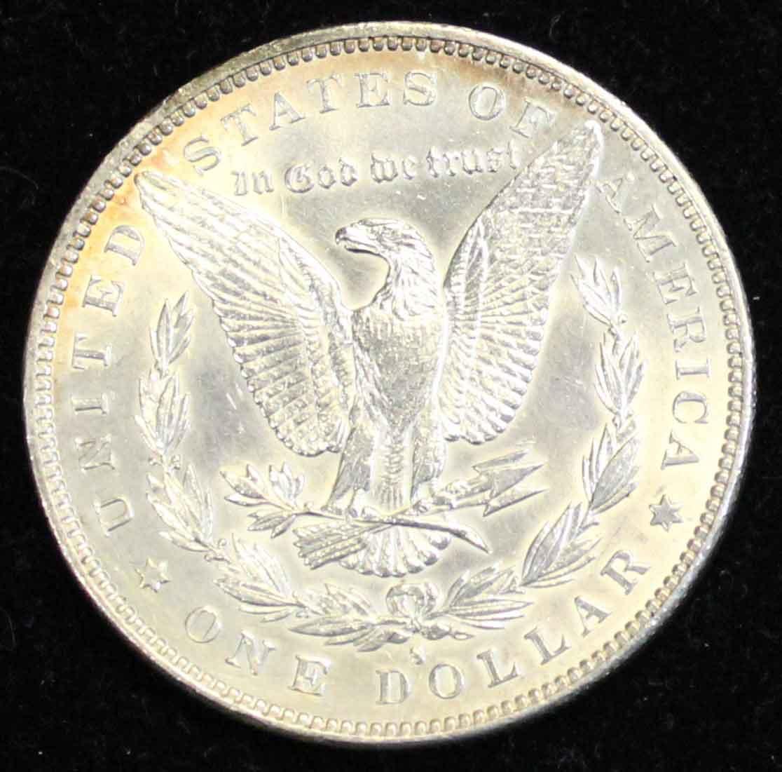 1889 Morgan Dollar has an embossed mintmark
