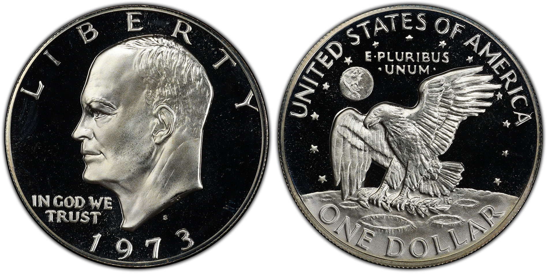 1973 S 40/% Silver Proof /& BU Eisenhower Dollars Ikes Combined Shipping 2x2 Snaps