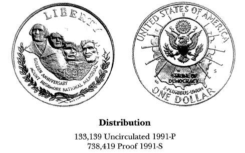 1991 Mount Rushmore Anniversary $1