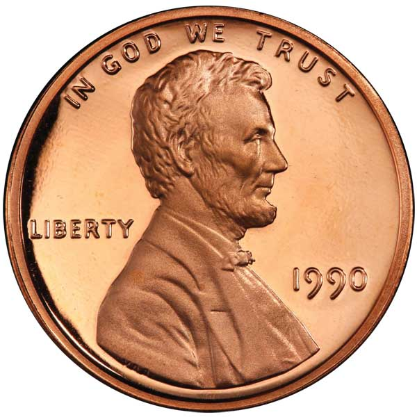 1990 No S Proof Lincoln Cent