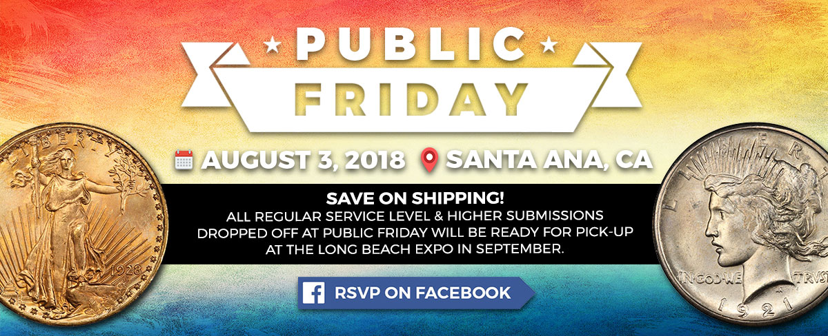 RSVP on Facebook for PCGS Public Friday, August 3, 2018
