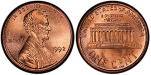 1992-P Close AM Lincoln Cent Sells for $24,056